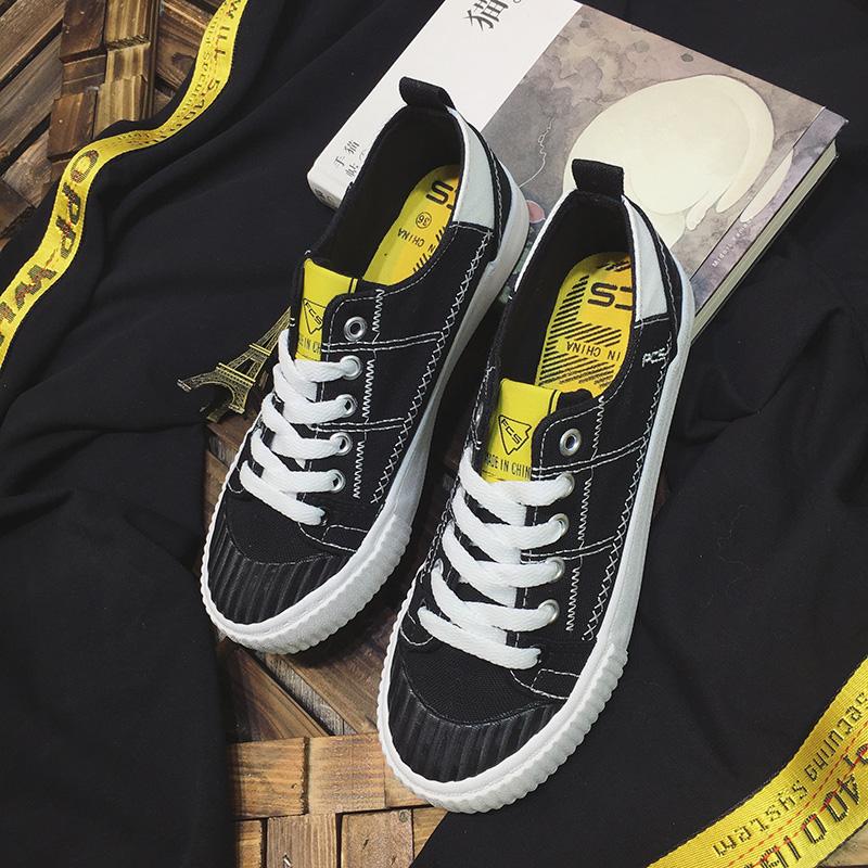 板鞋韓版原宿街拍百搭學生休閑鞋帆布鞋黑色
