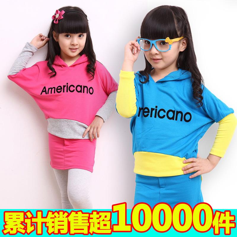 童装女童春装2013 新款韩版蝙蝠衫卫衣二件套全棉糖果色假三件套
