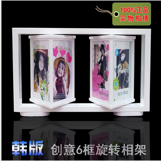 包邮韩式5寸婚纱相框 创意旋转相框 儿童相架 影楼相框批发 放6张