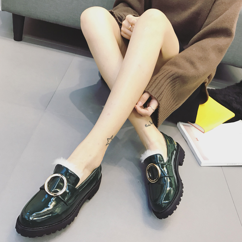 【包邮】韩版秋冬季单鞋女加绒粗跟厚底皮鞋