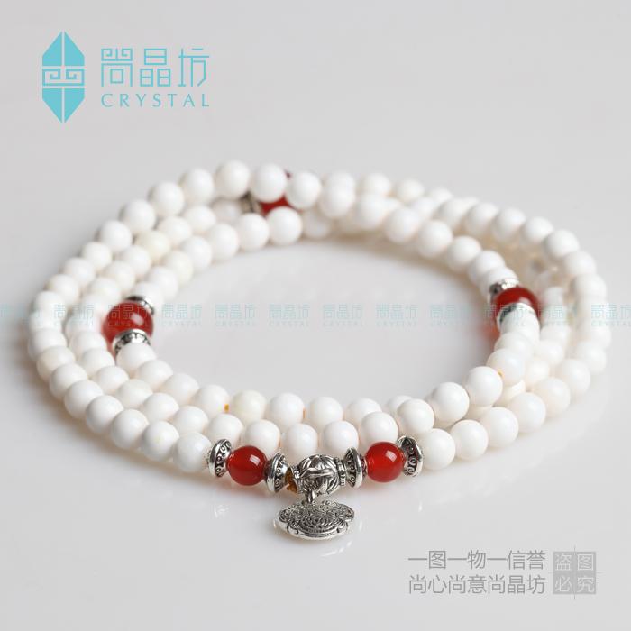 尚晶坊 纯天然白砗磲佛珠108颗念珠手链 项链 红玛瑙 男女新款
