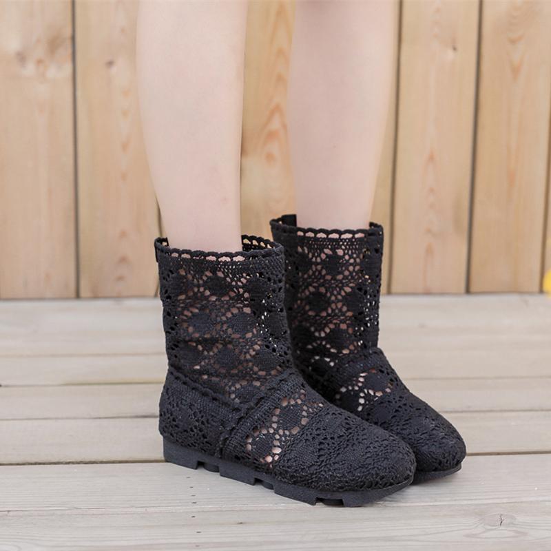 老北京靴圆头短筒女单夏季镂空透气蕾丝平底布鞋