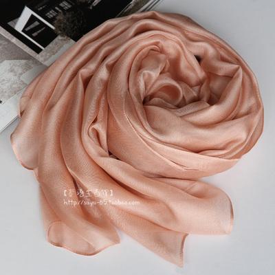 肉粉色 藕粉色 裸色系列 100%真丝西丽莎 高档超长桑蚕丝围巾披肩
