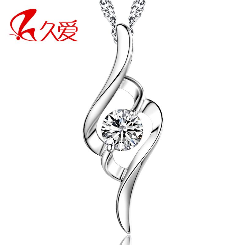 S925纯银项链子女士韩版时尚女短款锁骨链锆石水晶吊坠配饰银饰品