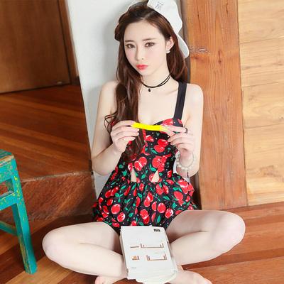 韩国新款游泳衣女士性感小胸钢托聚拢连体裙式保守遮肚显瘦泳装
