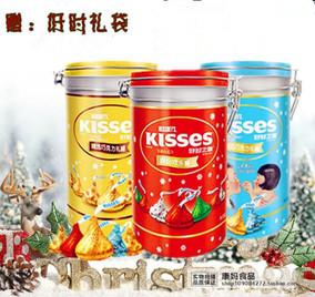 【特价】KISSES 好时之吻巧克力礼盒340g金罐 红罐 篮罐 罐装