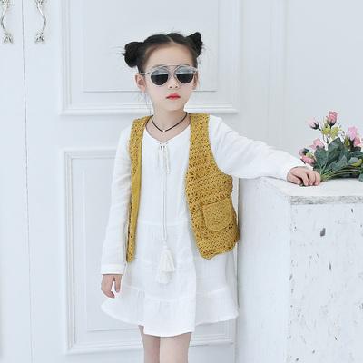 女童连衣裙2017春款马甲白裙套装长袖连衣裙韩版百搭时尚裙子