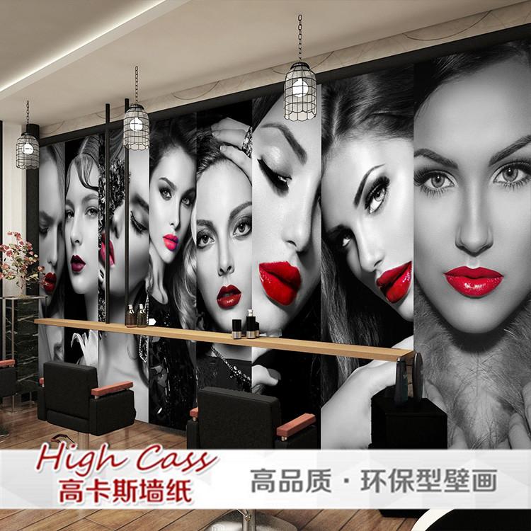 手绘时尚模特服装店墙纸个性涂鸦商场海报壁画女孩工业风水泥壁纸