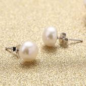 海漾天然淡水珍珠耳钉 近正圆强光正品女款s925纯银耳环饰品