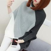 红惑蝙蝠衫毛衣原宿风女秋装新款2017拼色长袖宽松针织衫套头外套