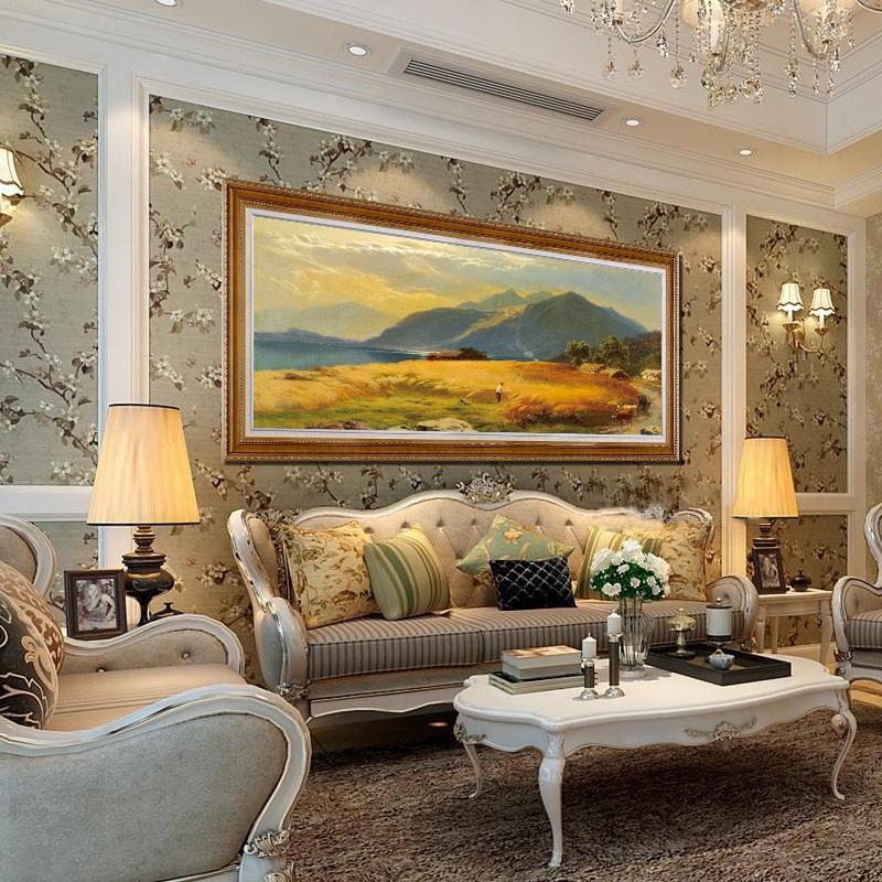 欧式客厅画北欧风景画客厅大画室内画古典画长条画手绘油画纯手工