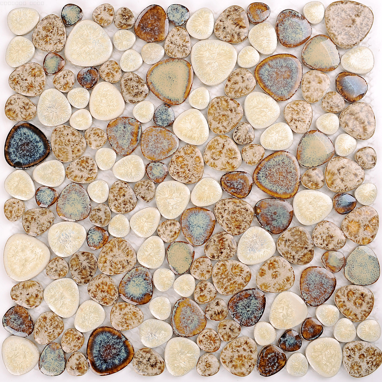 欧式陶瓷窑变马赛克鹅卵石简约现代电视背景墙客厅卫生间厨房地砖