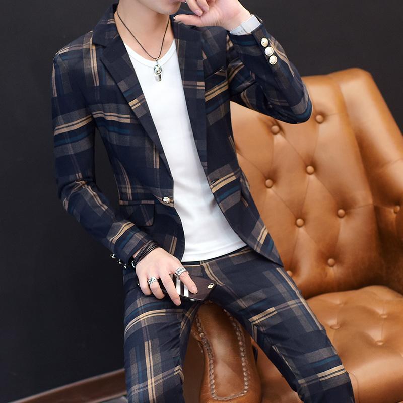 男士青年休闲小西装套装2017韩版修身新款潮流男士格子西服三件套