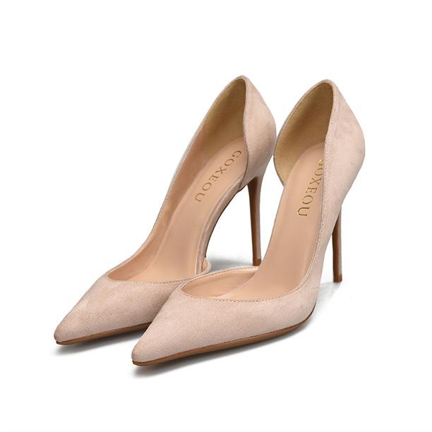 小码女鞋32 33细跟单鞋6/8/10cm绒面尖头大码侧空高跟鞋41 42 43