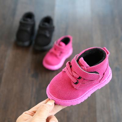 秋冬新款软底学步鞋宝宝棉鞋短靴儿童马丁靴0-3岁小童休闲鞋男女