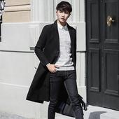 风衣男冬季长款过膝呢子大衣韩版秋学生帅气加长加厚修身毛呢外套