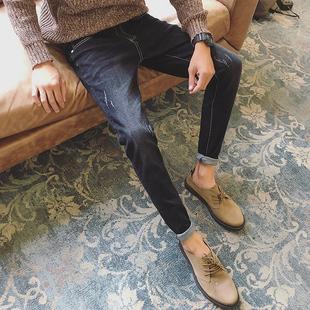 弹力牛仔裤男秋季韩版潮流修身小脚男生男士休闲直筒裤子冬季加绒