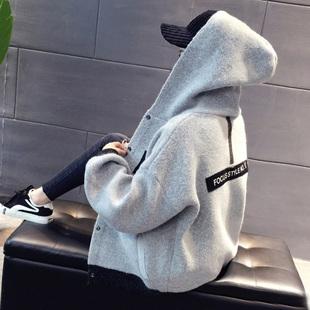短外套女春秋2017冬季新款韩版潮学生休闲连帽开衫宽松棒球服女装