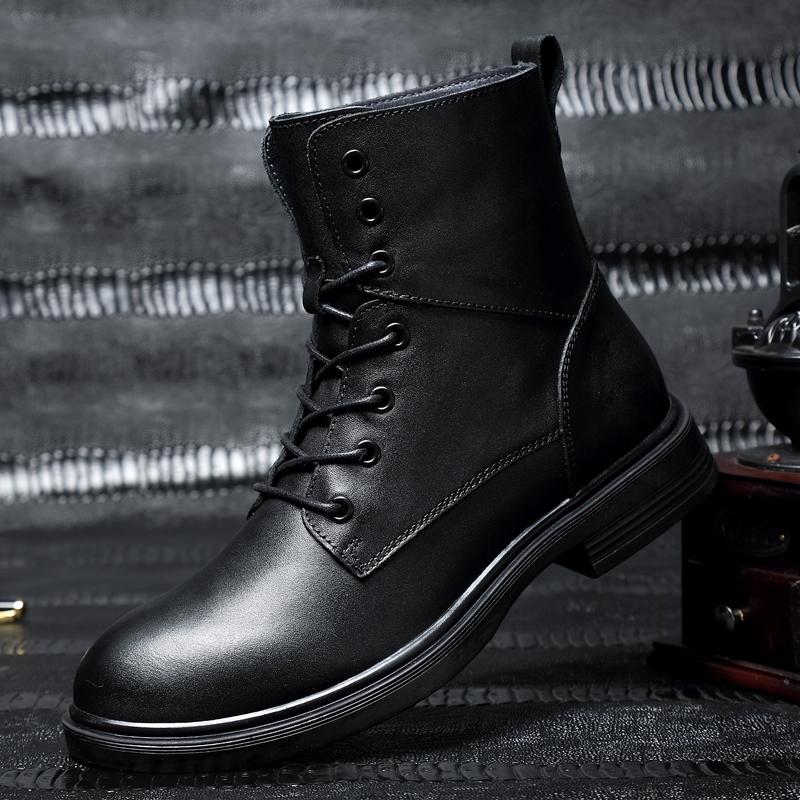 冬季马丁靴商务加绒保暖厚底系带大码中筒图腾男士圆头军靴靴子