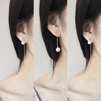 925纯银珍珠耳线女韩国长款气质甜美防过敏简约耳环耳钉饰品耳坠