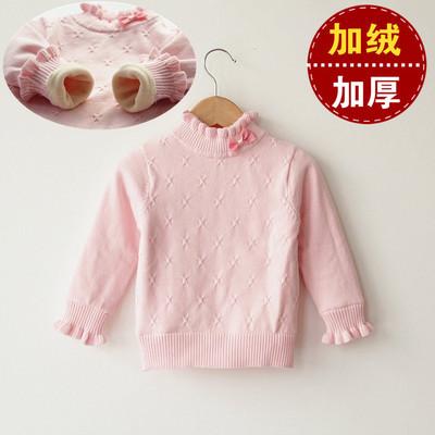 女童毛衣套头加厚加绒高领纯棉2小童冬款保暖3打底衫女宝宝0-5岁