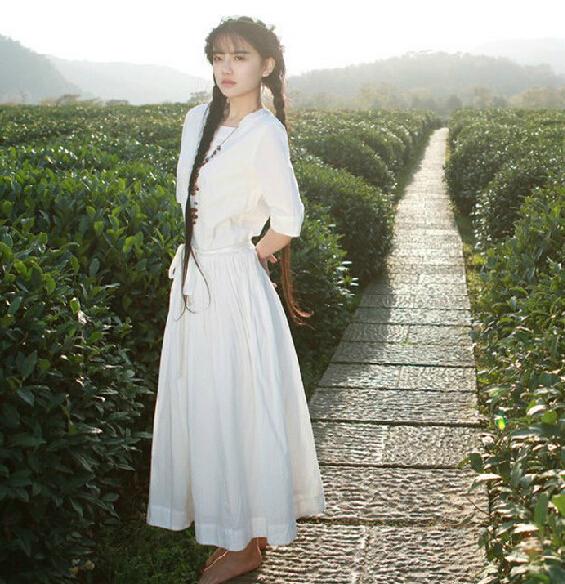 春夏学生文艺范森系短袖气质纯棉连衣裙修身中长裙