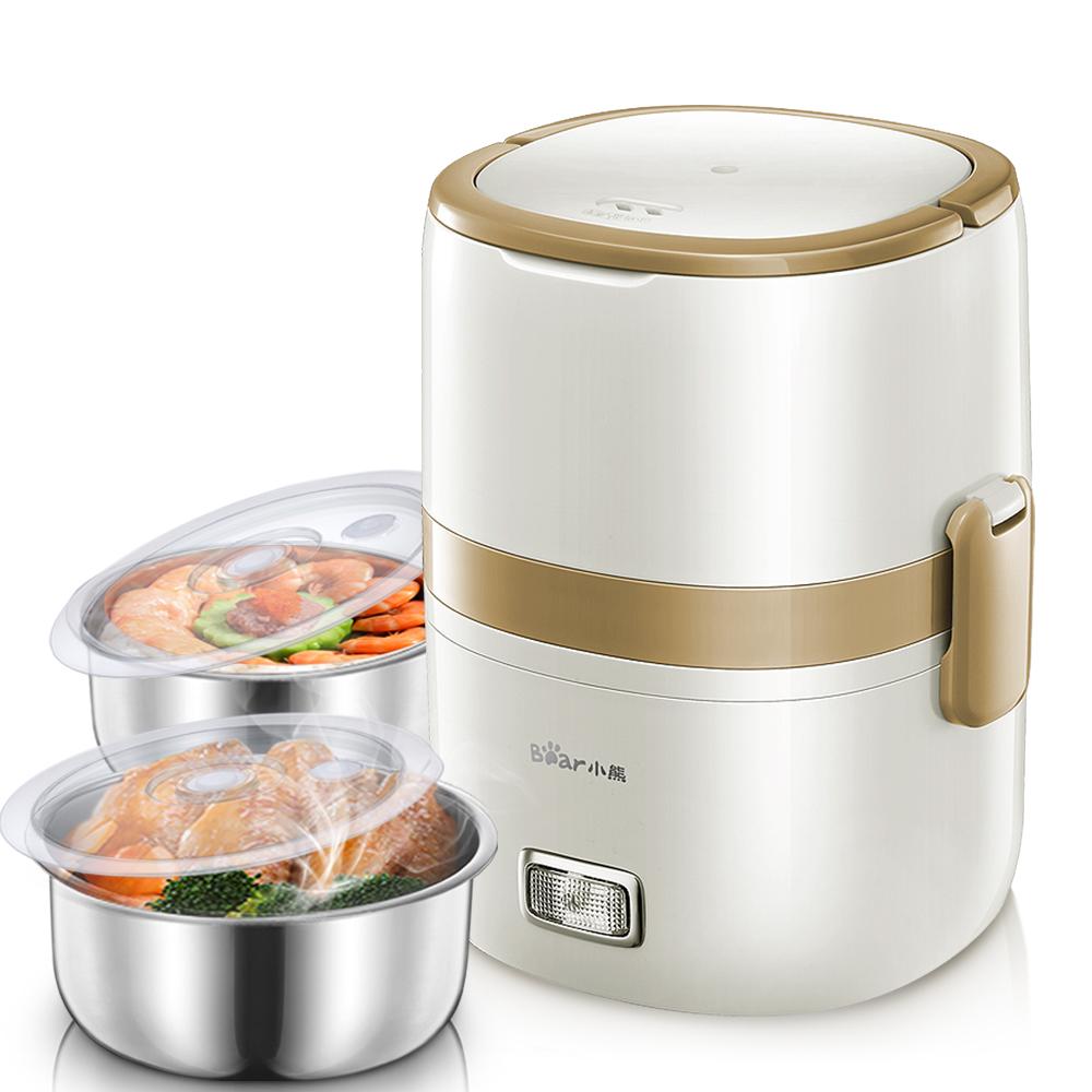 小熊加热饭盒插电可保温电热双层热饭器小型蒸饭锅1人2迷你电饭煲