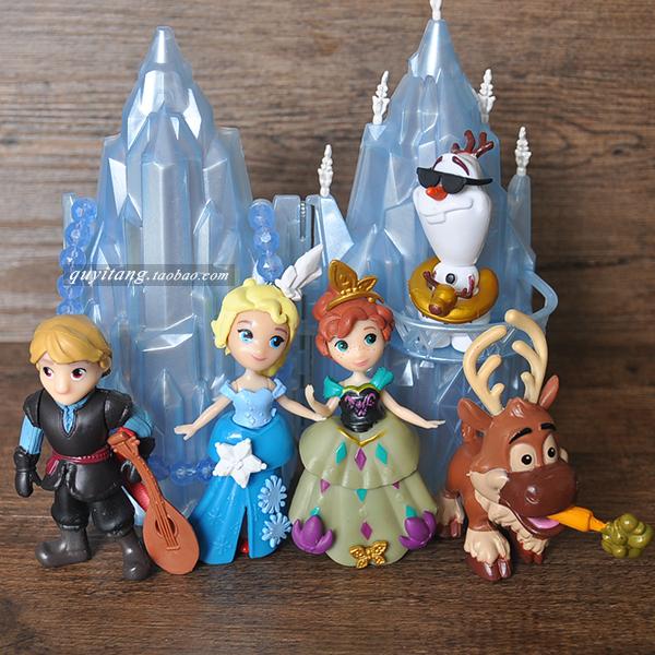 q版冰雪奇缘安娜艾莎公主人偶 组合摆件手办模型城堡玩具5款全套