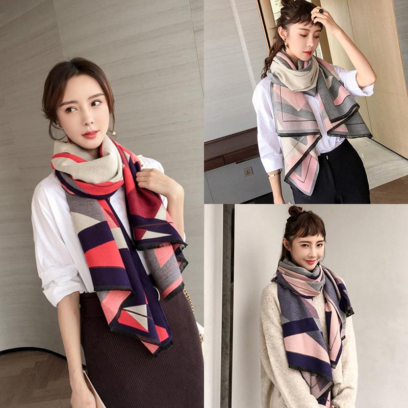 围巾女两用百搭加厚保暖秋冬季几何图形双面长款时尚披肩