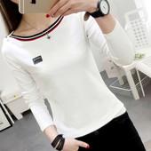 春装新款长袖t恤女韩版白色纯棉学生衣服大码条纹体恤打底衫上衣