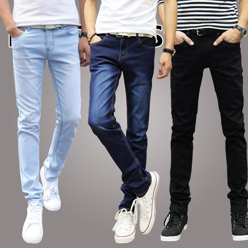 牛仔褲休閑顯瘦韓版小腳長褲夏季夏天修身薄款牛子褲男男生