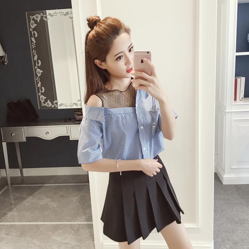 韩版露肩网纱假两件衬衫短袖拼接女装夏季衬衣条纹上衣