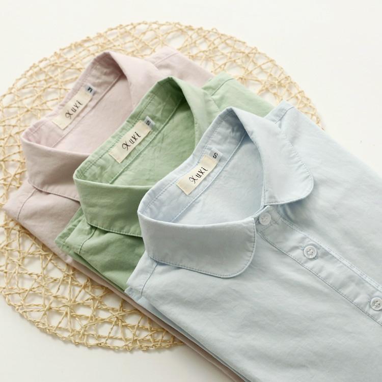 天天特价 白衬衣17夏季新款韩版娃娃领纯棉百搭宽松短袖打底衬衫