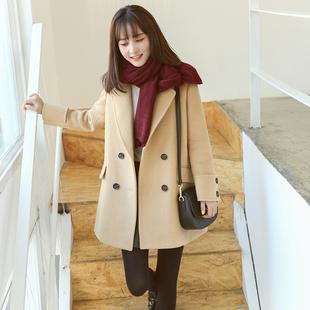 夏奈可可2016韩国秋冬修身显瘦毛呢外套女中长款羊毛加厚呢子大衣