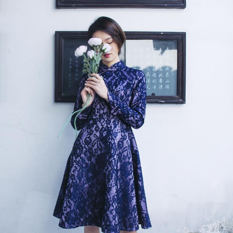 槿爷改良版定制旗袍连衣裙镂空内搭复古文艺蕾丝年会礼服女中长款