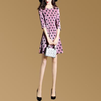 欧洲站时尚连衣裙2017秋装新款女装显瘦波点圆领七分袖丝绒 A字裙