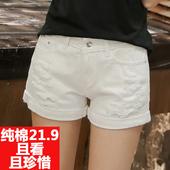 夏季韩国破洞百搭白色高腰牛仔短裤女宽松版显瘦阔腿学生大码热裤