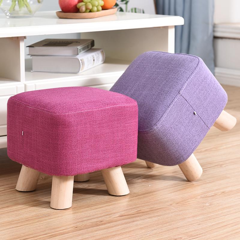 实木换鞋凳创意方凳小凳子时尚穿鞋凳茶几凳小板凳家用布艺矮凳