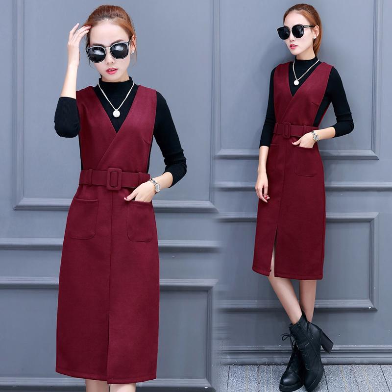 2017秋冬新款针织衫背带裙两件套韩版中长款打底毛呢连衣裙女装潮图片