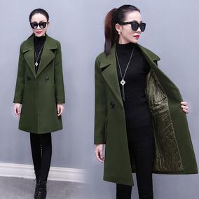 2016冬季新款韩国中长款加厚毛呢外套女双排扣修身显瘦呢子大衣潮