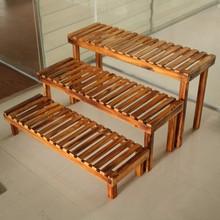 实木花架户外阶梯地面台阶凳多层碳化防腐原木花架阳台置物架特价