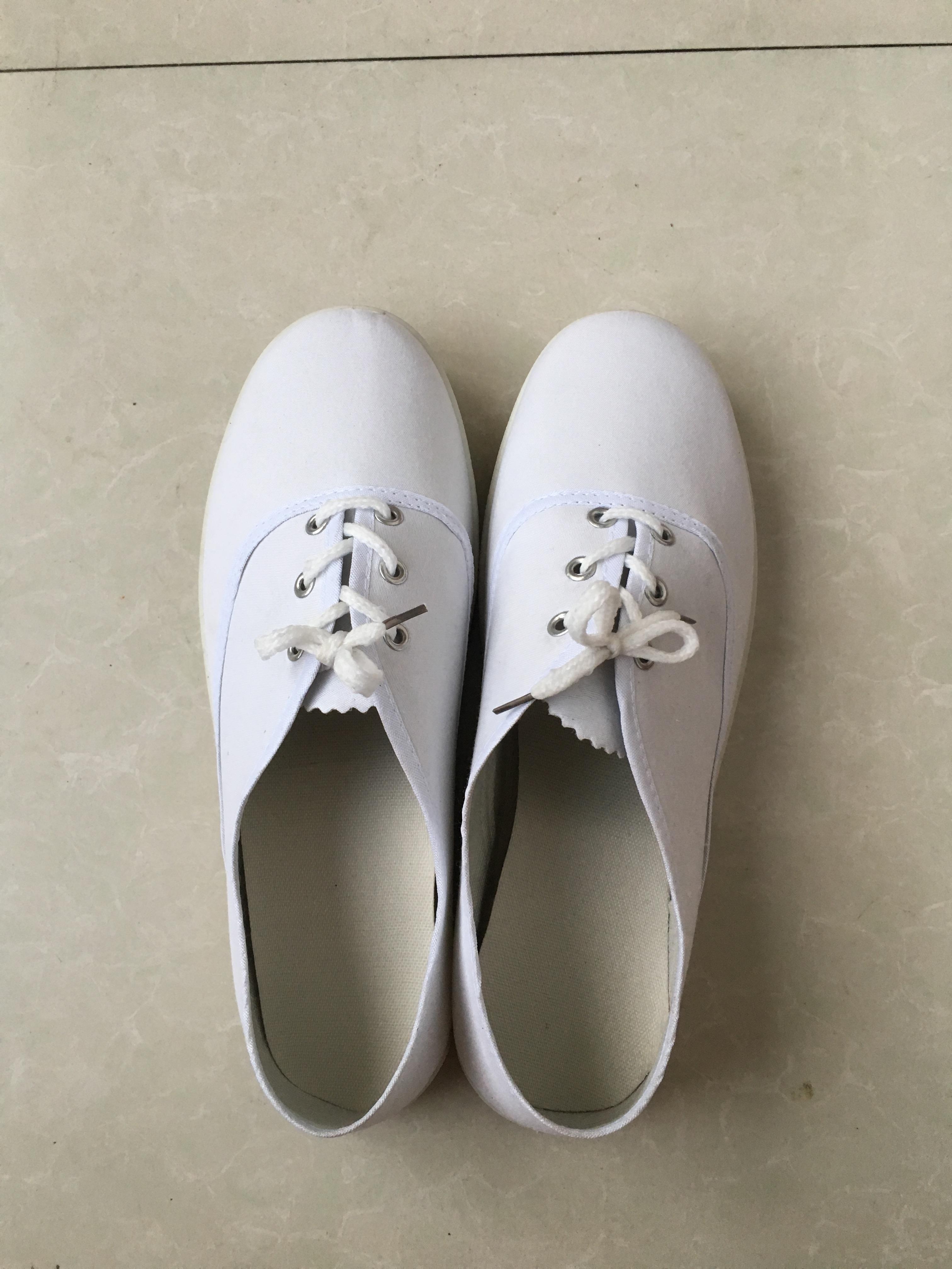 丧事白事白布鞋白孝鞋男女通用白球鞋白色系带劳保白鞋殡葬专用鞋