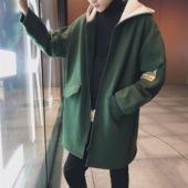 加厚外套韩版 修身 潮流秋冬大衣bf风 文艺男情侣风衣中长款 冬季男士图片