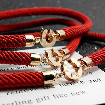 明星同款鸡年红绳纯银镀18 k金情侣幸运手链本命年闺蜜女友礼物