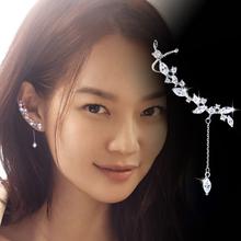 韩国时尚个性微镶水晶流苏耳钉耳夹纯银耳针女不对称气质耳环饰品