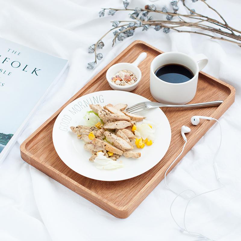 日式橡木方形托盘 实木原木素色茶盘甜点盘 面包点心餐盘咖啡托盘