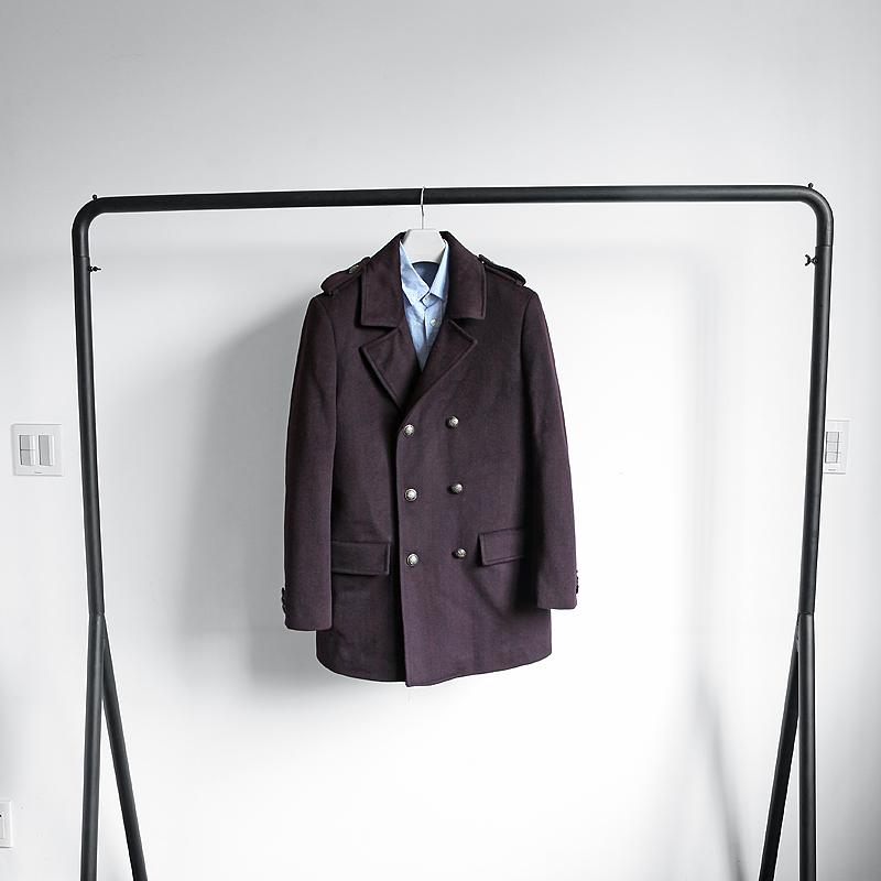 清仓不退不换 男装工厂剪标尾货秋冬新款双排扣羊毛呢大衣外套