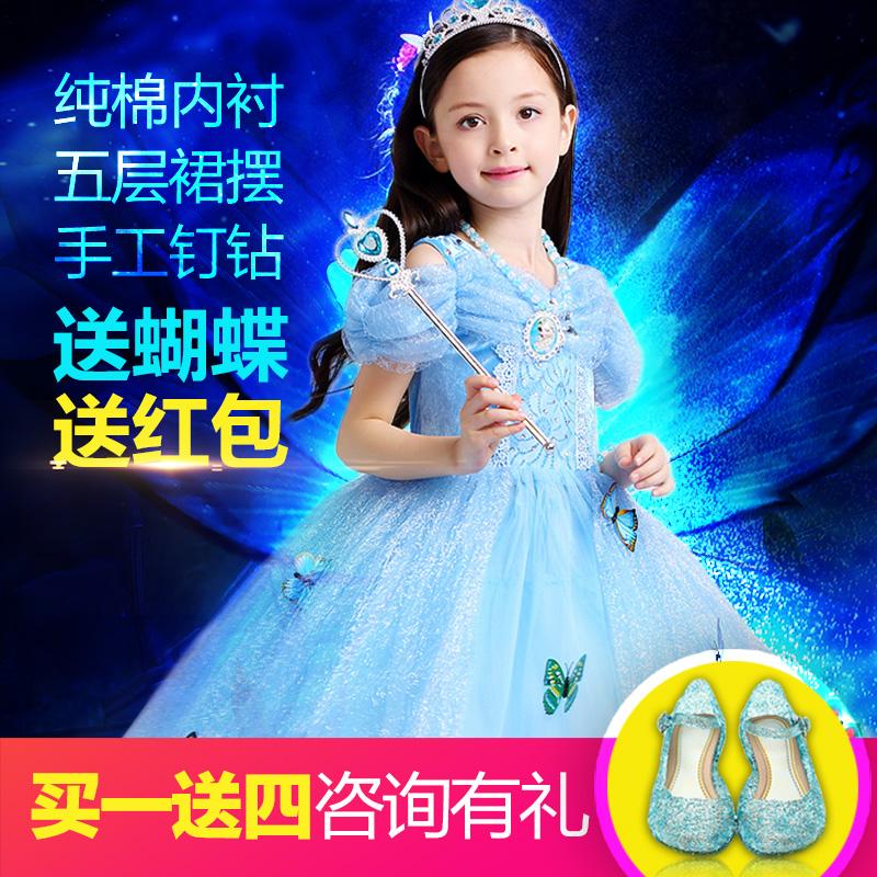 冰雪奇缘公主裙艾莎爱沙女童连衣裙迪士尼灰姑娘儿童夏季爱莎裙子