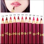 哑光雾面上色口红笔画唇笔姨妈豆沙红大红色 铅笔木杆可削唇线笔