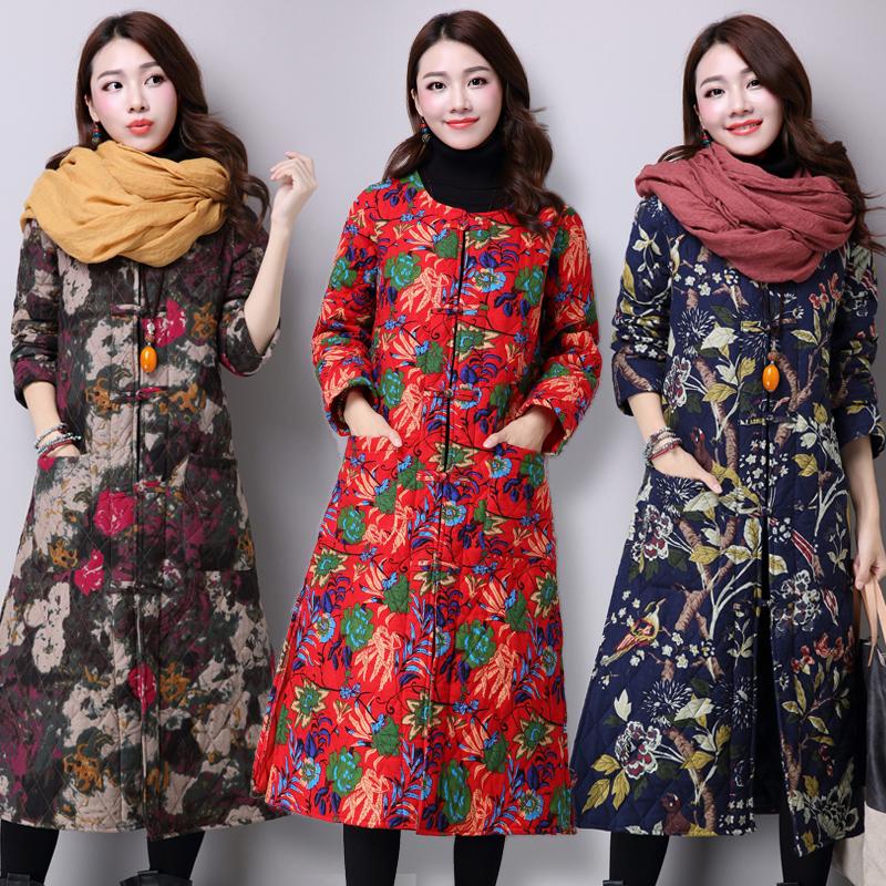 2016冬季新款中国风花布棉衣中长款民族风女装保暖修身棉服棉袄女